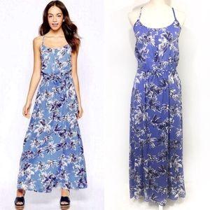 ASOS Yumi Maxi Dress Blue Palm Print Sz 8/10 NWT